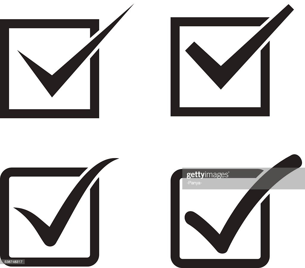 Set Of Check Mark Check Box Icons Vector Art Getty Images