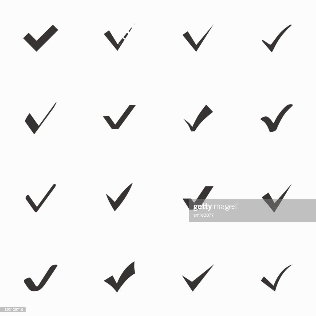 Set Of Check Mark Icon On White Background Vector Icon Vector Art