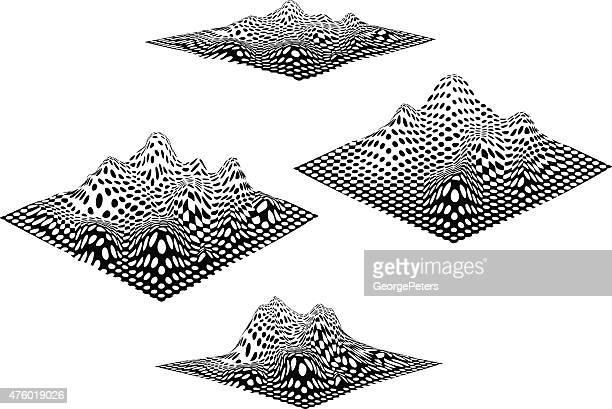 illustrations, cliparts, dessins animés et icônes de jeu de damiers paysage avec montagnes - cartographie
