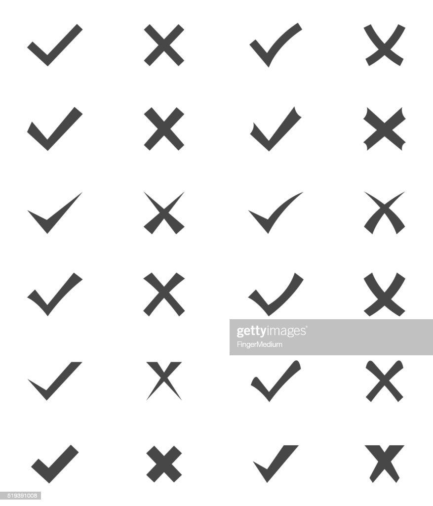 Set of checks and crosses