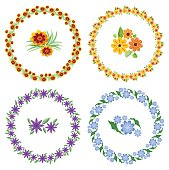 Set of cheerful beautiful multicolored wreaths and flower motifs. Design elements for spring and easter design. Cute flower in yellow, pink, blue and purple