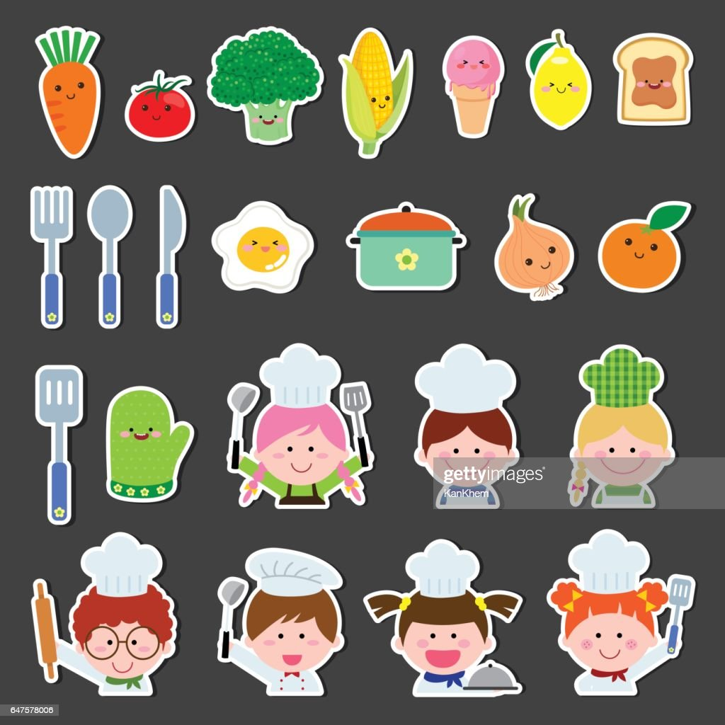Set of chef kids and kitchen elements