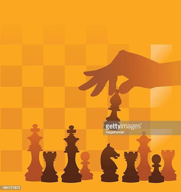 Juego de ajedrez sobre fondo a cuadros piezas