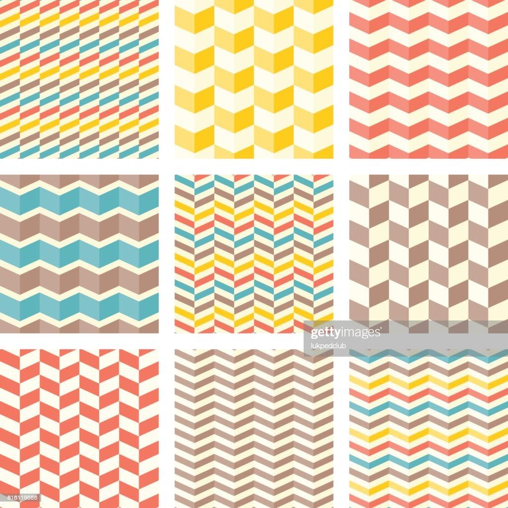 Set of chevron and zigzag seamless pattern
