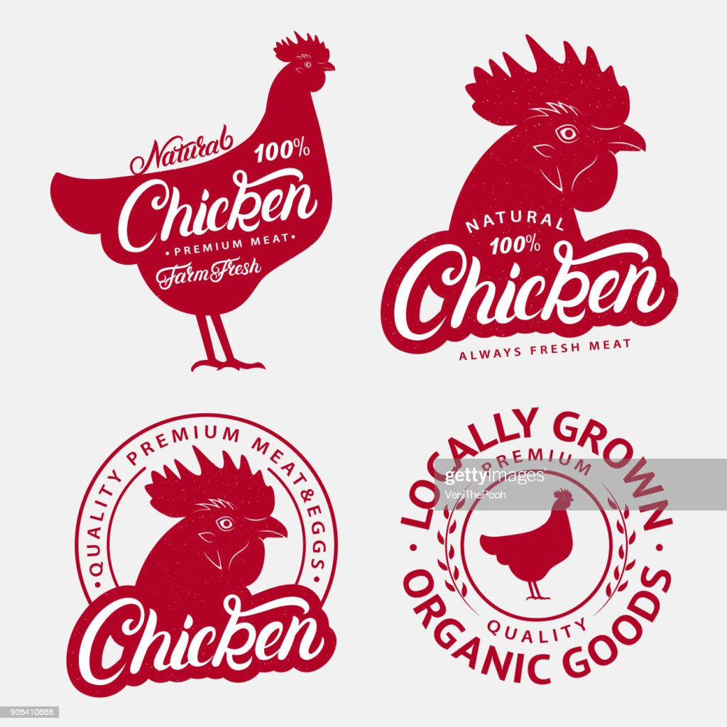 Set of Chicken labels, prints, posters for butcher shop, farmer market.
