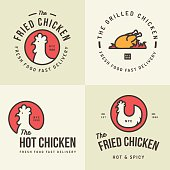 Set of chicken meat logo, badges  for food shop restaurant.