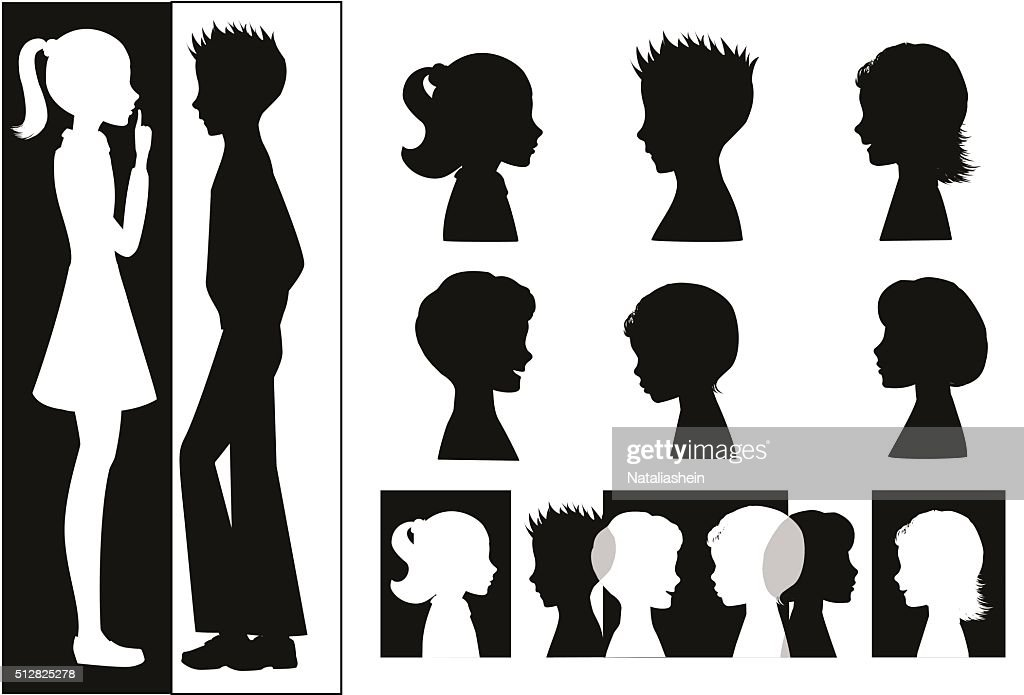 Set of child heads silhouettes.
