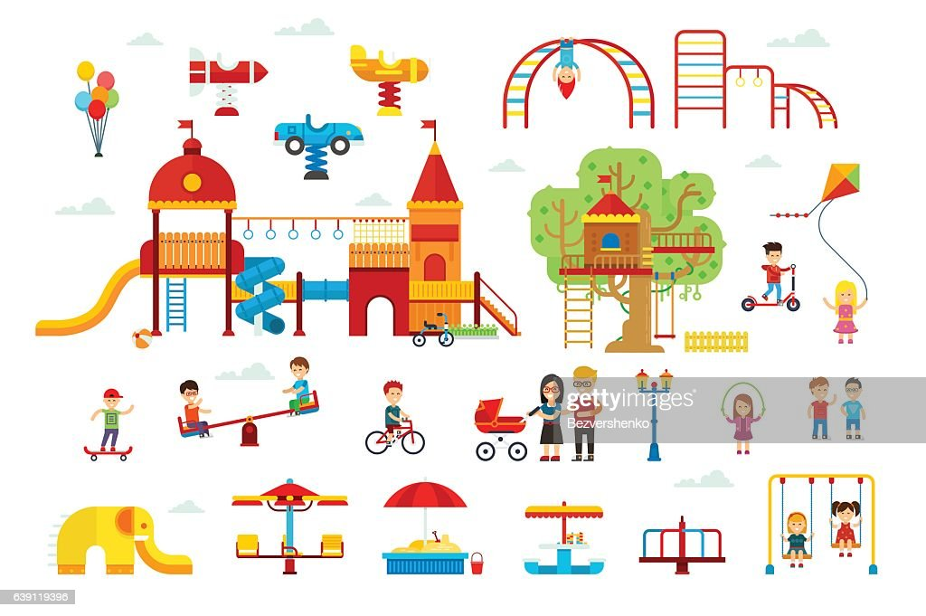 Set of children playground elements