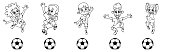 Set of children soccer players, a ball game