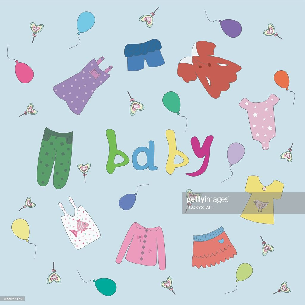 set of children's clothing. Vector illustration