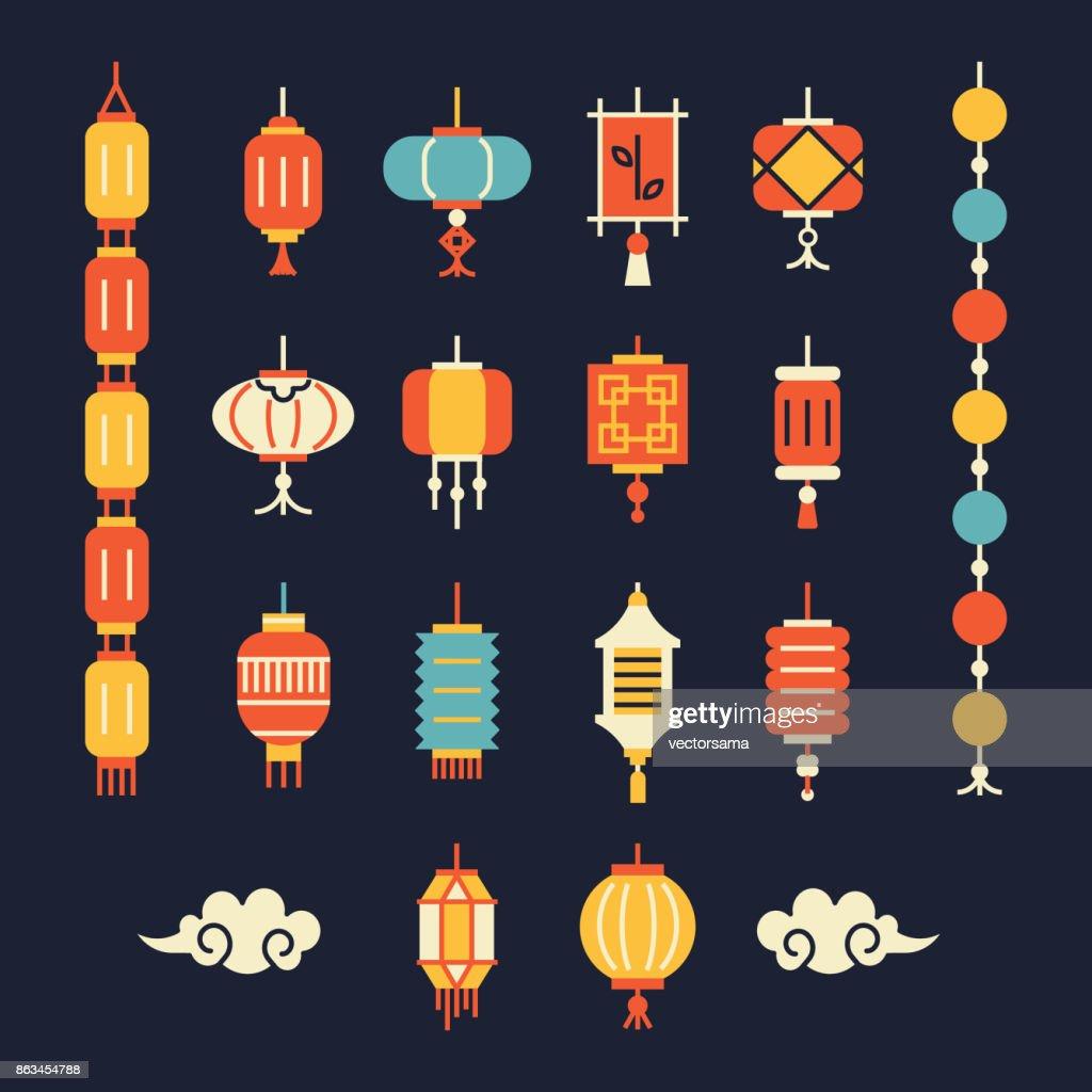 Set of chinese lanterns.