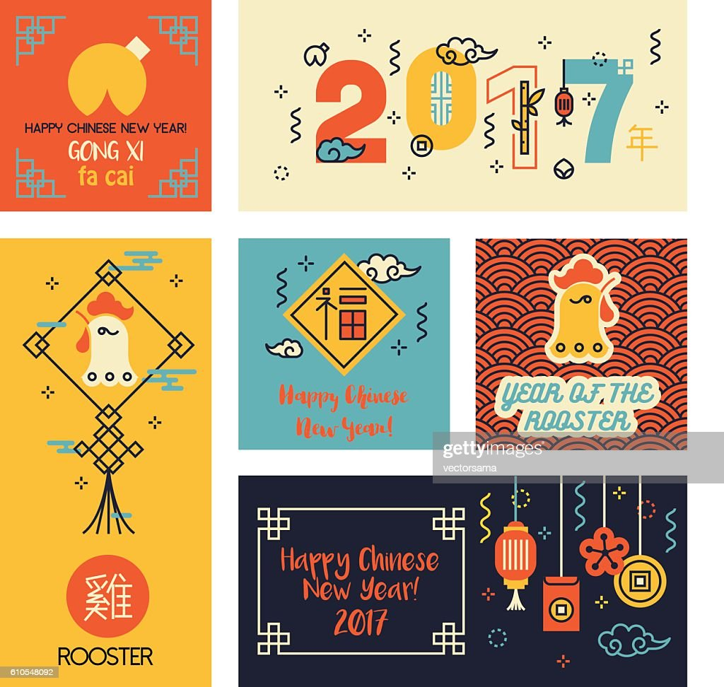Set of Chinese New Year Cards in modern linear style.