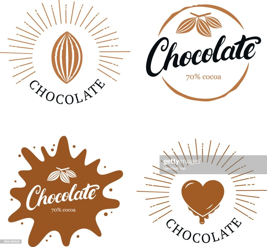Set of chocolate hand written lettering label, badge or emblem with cocoa bean.