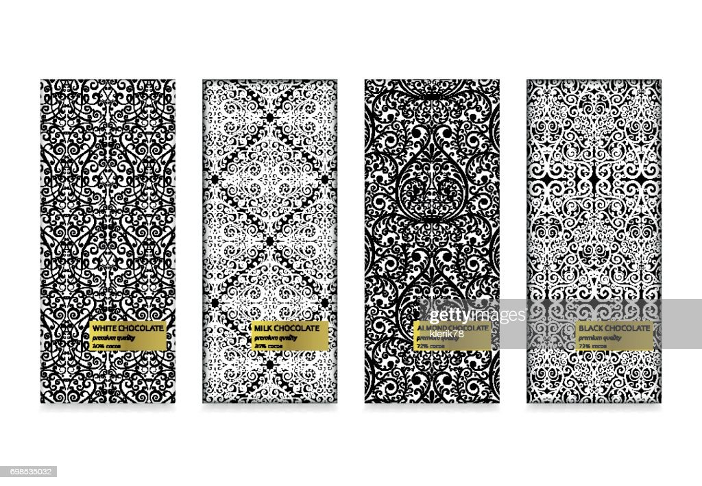 Set of chocolate packaging in trendy geometric linear style. Black, milk, almond and white types. Vector illustration.