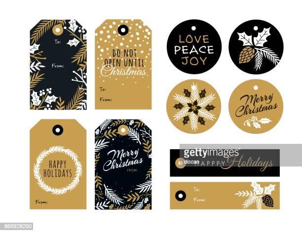 satz von weihnachten und urlaub tags - illustration - stern form stock-grafiken, -clipart, -cartoons und -symbole