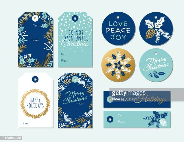 set of christmas and holiday tags. - label stock illustrations