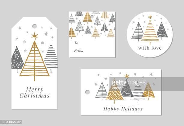 ilustraciones, imágenes clip art, dibujos animados e iconos de stock de conjunto de etiquetas de navidad y vacaciones. - flor de pascua