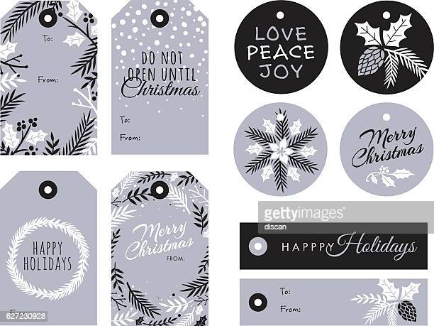 set of christmas and holiday tags - pine cone stock illustrations, clip art, cartoons, & icons