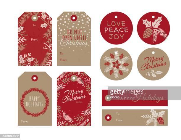 set of christmas and holiday tags - christmas present stock illustrations