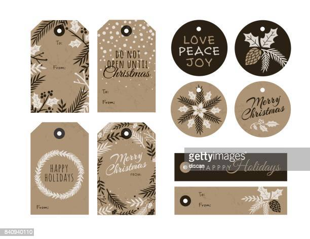 set of christmas and new year gift tags - mistletoe stock illustrations