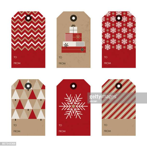 set of christmas and new year gift tags. - christmas present stock illustrations