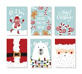 Set of Christmas and New Year greeting cards. Vector illustration. Hand drawn lettering.