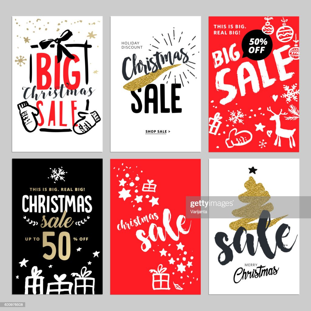 Set of Christmas and New Year mobile sale banners