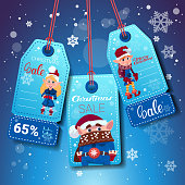 Set Of Christmas And New Year Sale Tags With Elfs On Blue Snowflakes Background