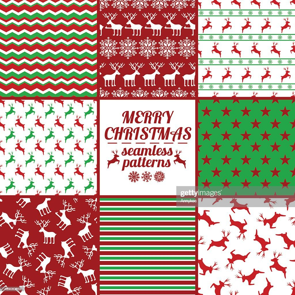 Set Of Christmas And New Year Seamless Patterns With Deers.