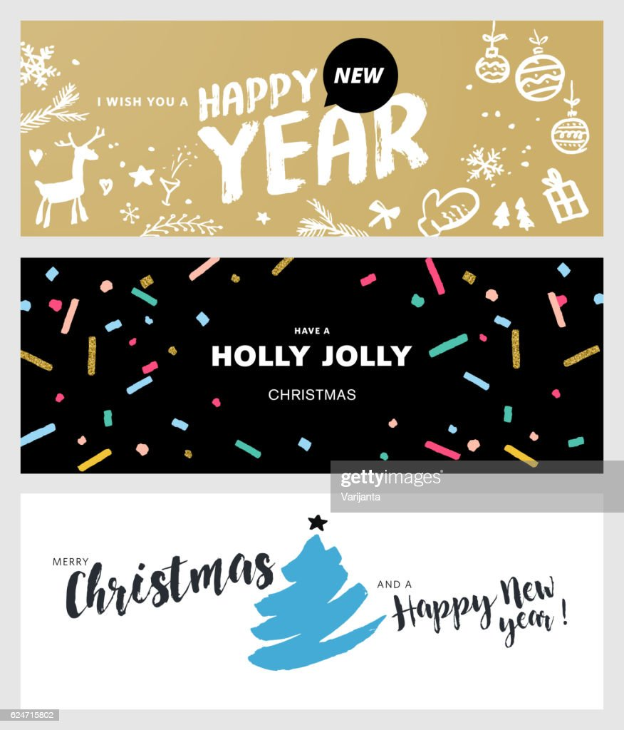 Set of Christmas and New Year social media banners