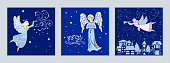 Set of Christmas cards with angels