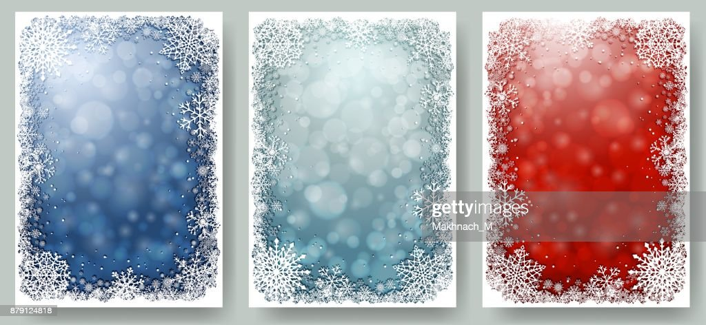 Set of Christmas cards with frame of snowflakes