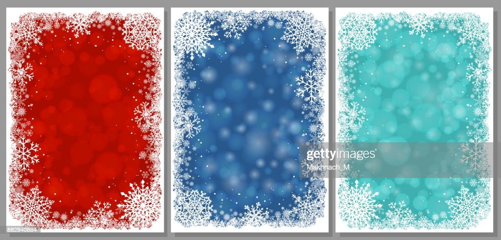 Set Of Christmas Cards With Frame Of Snowflakes Vector Art | Getty ...