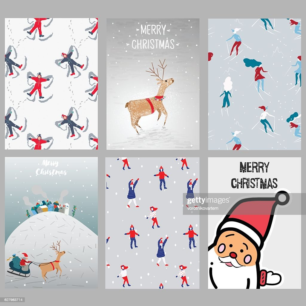 Set of Christmas cards.Hand drawn elements and patterns.