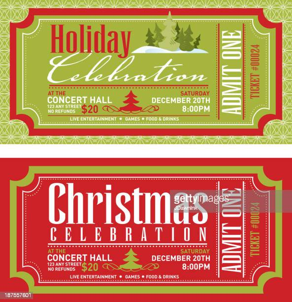 Set of Christmas concert tickets templates