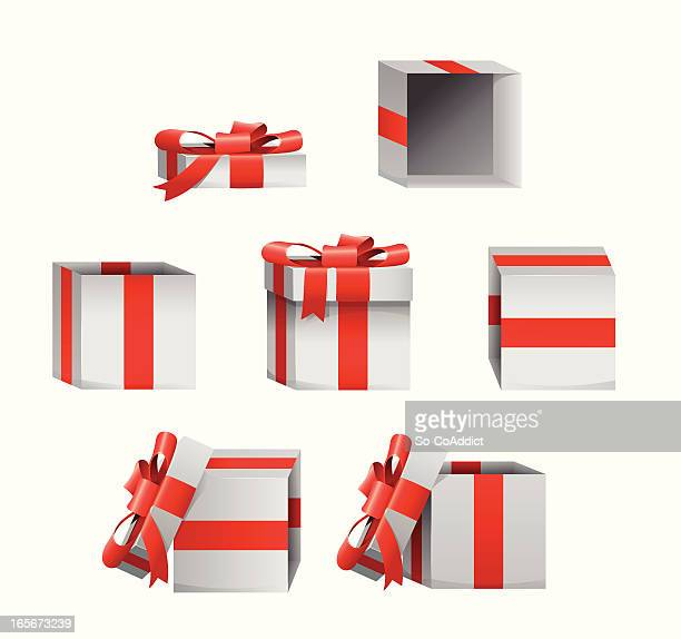 set of christmas gift box present icons - no people stock illustrations