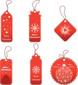 Set of Christmas gift labels on white background