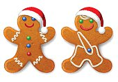 Set of Christmas gingerbread mans