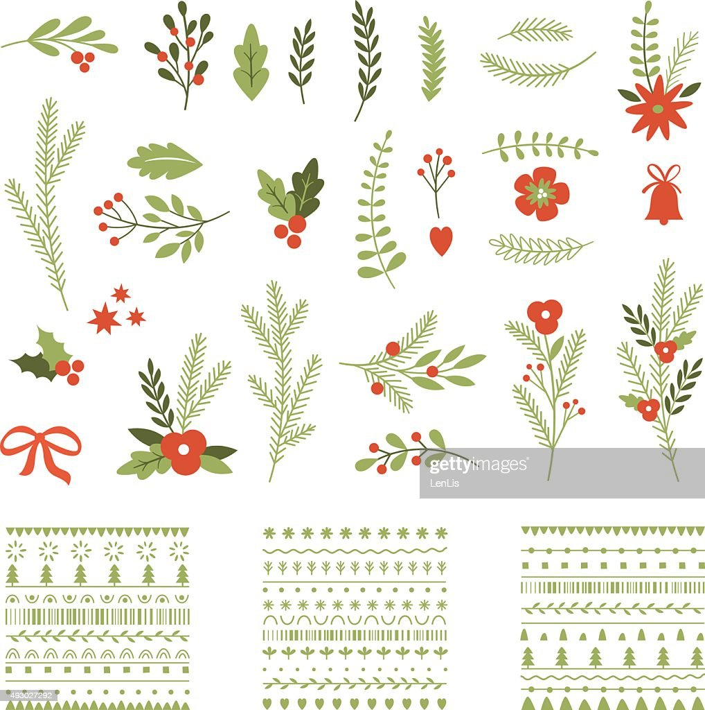 Set of Christmas graphic elements and ornaments