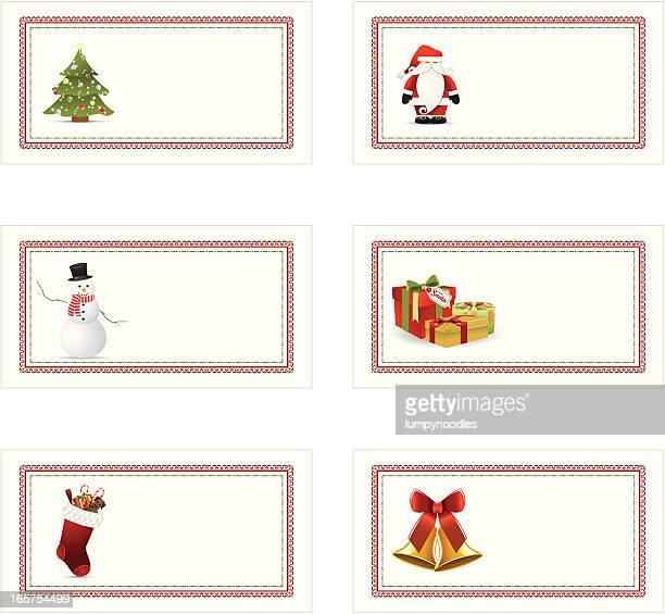 a set of christmas holiday gift tags aligned in a row - christmas present stock illustrations