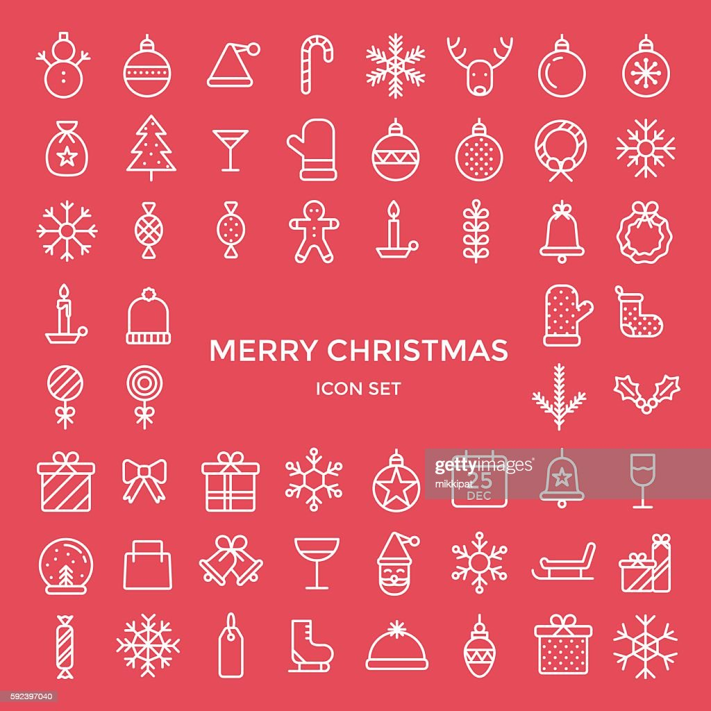 Set of christmas holiday icons - vector illustration