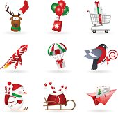 Set of christmas icons about delivery and shopping