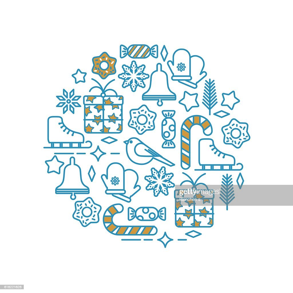 Set of Christmas Icons and Elements in Line Style : Vector Art
