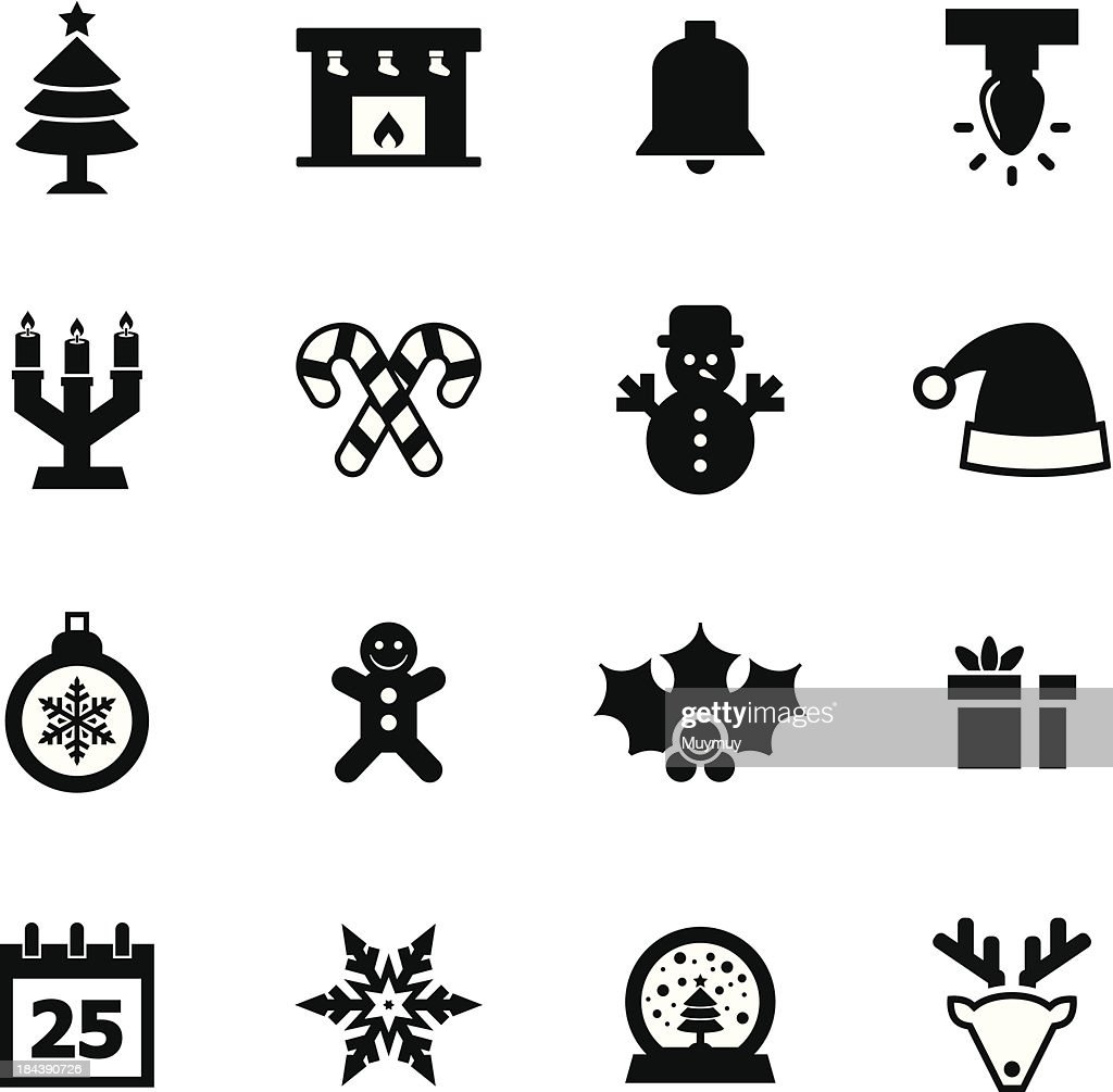 Set of Christmas icons isolated on white