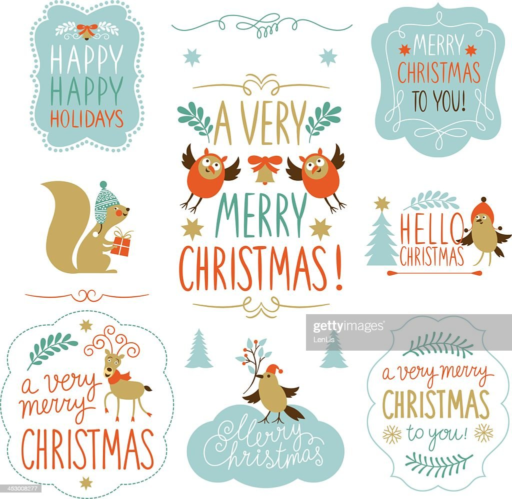 A set of Christmas lettering and elements
