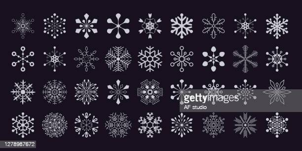 set of christmas snowflakes - af-studio stock illustrations