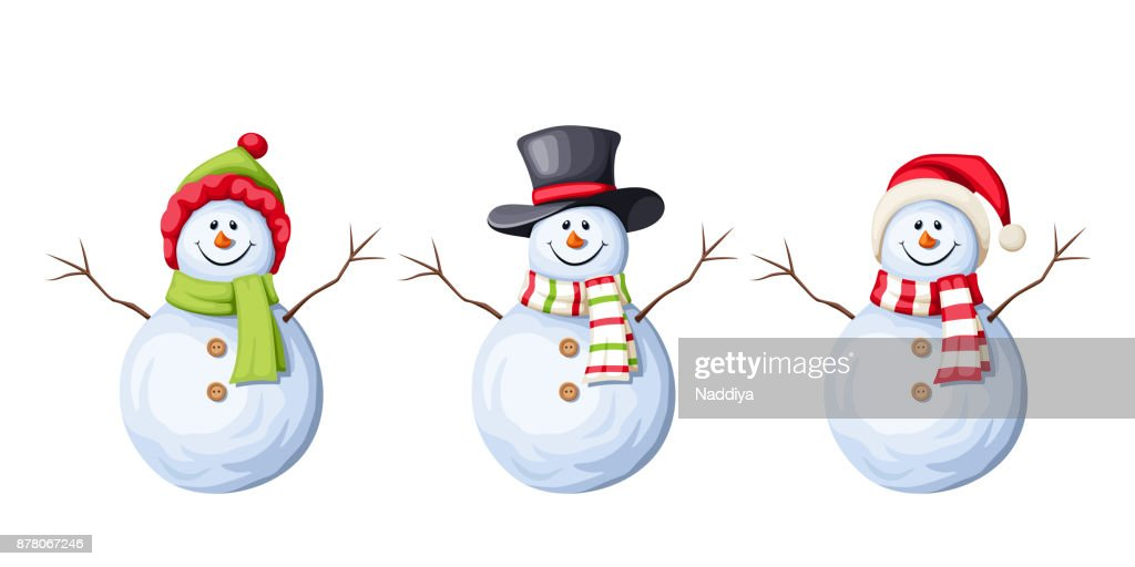 Set of Christmas snowmen. Vector illustration.