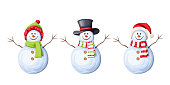 Set of Christmas snowmen. Vector illustration.