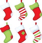Set of Christmas socks. Vector illustration.
