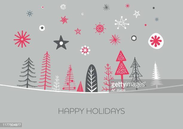ilustrações de stock, clip art, desenhos animados e ícones de set of christmas trees. hand drawn. greeting card. - estrelas de natal